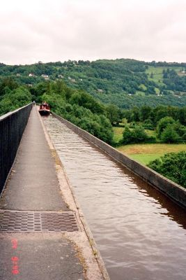 The aqueduct with canal boat at the end