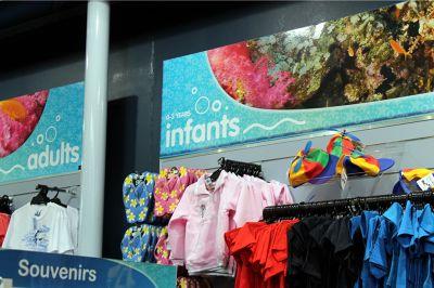 clothing displayed at the aquarium gift shop
