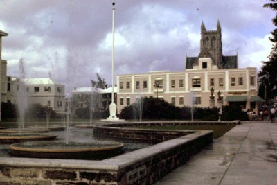 ornamental fountains in front of CIty Hall - cathedral in back