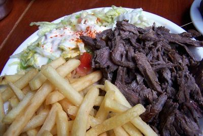 marinated grilled beef with fries and salad DK 79