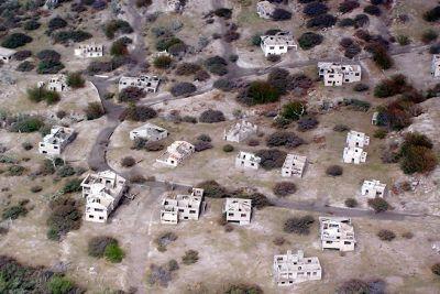 Looking down on a destroyed village - Montserrat