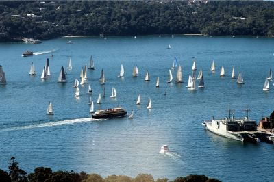 Ferry and sailboats from Sydney Tower
