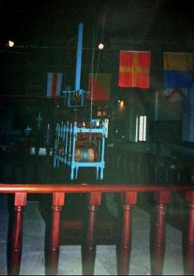 Flags and exhibits in the Boat Loft