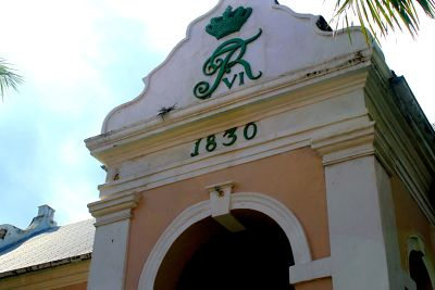 Side entrance with logo and date