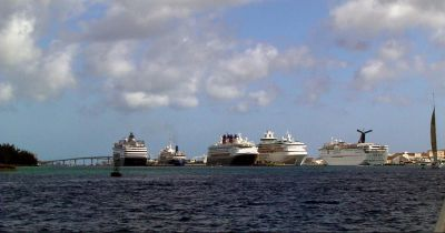 Cruise ships from our boat, coming in to Nassau