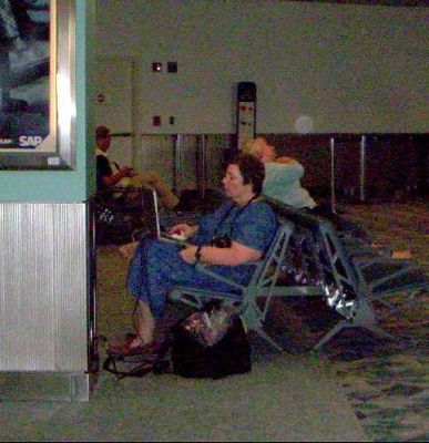 Me using computer in gate area