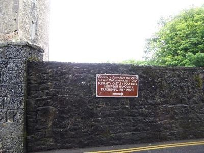 Sign on the castle wall