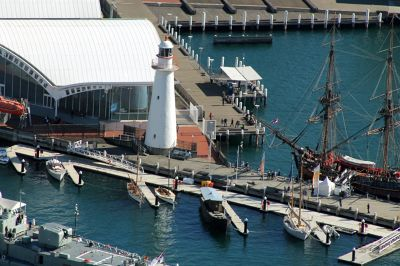Lightship and HMB Endeavour replica Cape Bowling Green Lighthouse from the AMP tower
