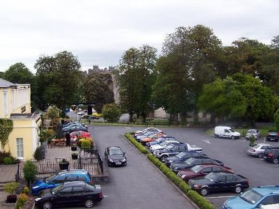 View of the parking lot and castle from our room