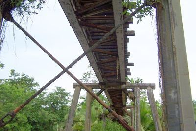 going under the trestle