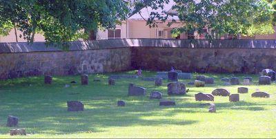 Small gravestones in a shady corner