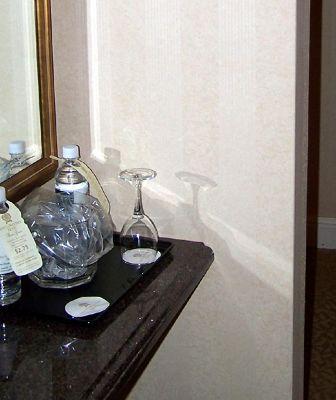 Anteroom Coffee tea area and wine glasses