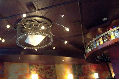 Chandelier in the restaurant