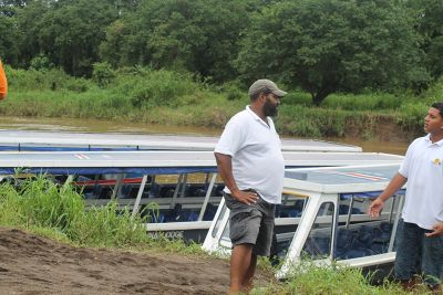 Boats down the mud bank