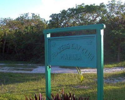 Old Frazier's Hog Cay sign at Berry Island Club