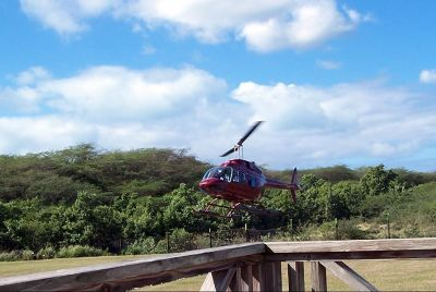 Helicopter coming in for a landing