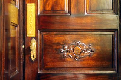 Detail of the wood carving in a stall door