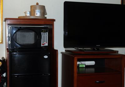 Scooter TV, microwave and refrigerator