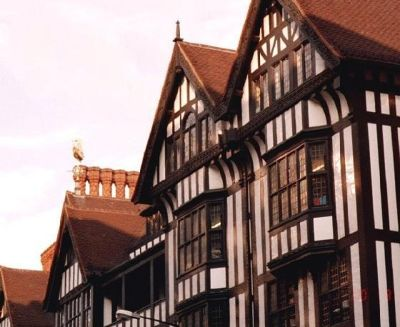 Chimney pots on half timbered houses in London