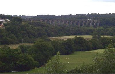Railroad viaduct in the distance