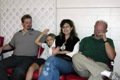 Bob and son's family at basketball practice