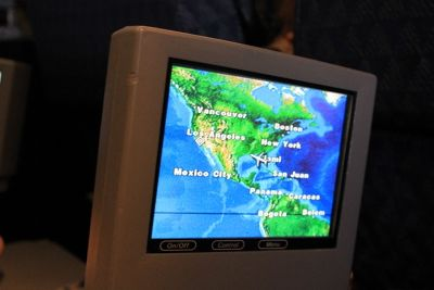 waypoint on the TV screen in the airplane