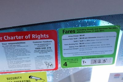 Fare card in the taxi