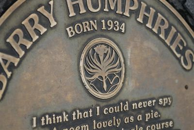 Barry Humphries metal plaques