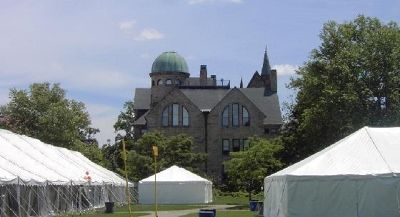 catering tents with Peters in background