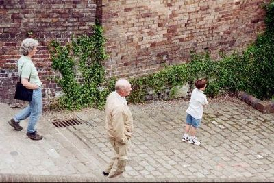 Bob, daughter and grandson walking down