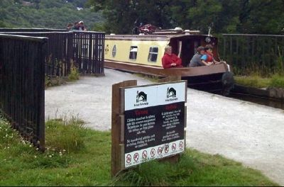 Warning Sign at the entrance to the towpath