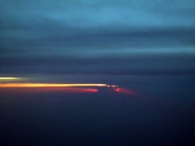 sunset from the  plane 8:40 pm EDT