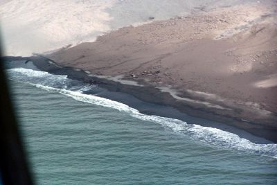 Black sand beach from the helicopter - Montserrat