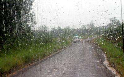 Rain through the bus window