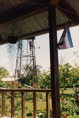 Water tower From porch of the lodge with flag