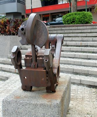 metal sculpture outside the Gold Museum which was there in 1996