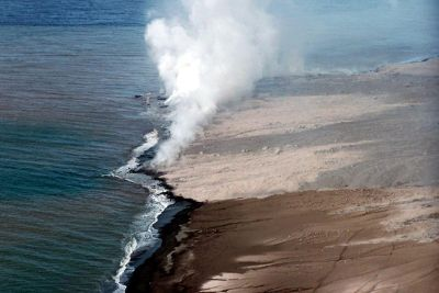 Pyroclastic flow boiling the ocean - Antigua and Barbuda