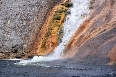 Colorful bacteria as hot water flows to the river