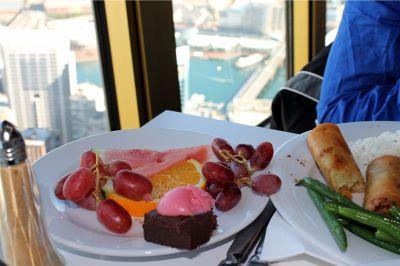 Buffet dessert items in Sydney Tower restaurant - Australia