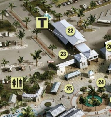map of port - Taxis marked T. The car rental center is location 23 on the map of the cruise center