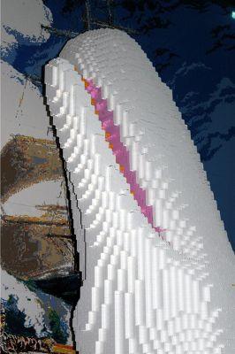 whale made of legos at the aquarium