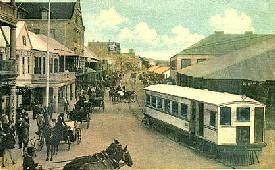 Old photo of the train in town