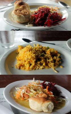 Lunch dishes - two salad plates and chicken rice