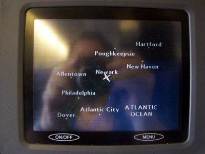 Seatback GPS shows plane in the air