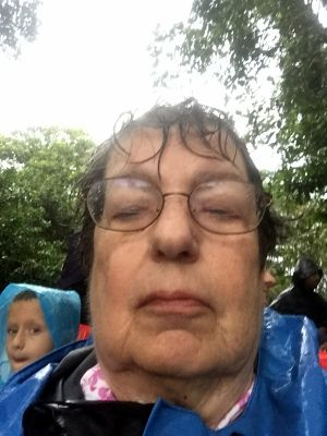 Selfie with cell phone in the rain