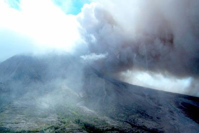 Mountain with clouds of ash - Montserrat