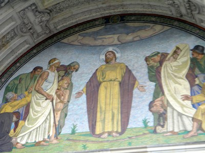 Mural on the cathedral of Jesus