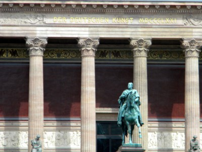 Top of the Gallery and Statue of Frederick William IV of Prussia in front of the Old National Gallery