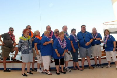 Group at Sail-away in our group shirts