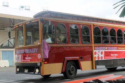 Red trolley at the dock